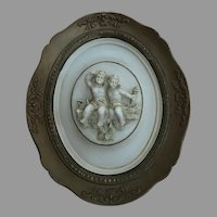 Vintage Alexander Backer Co. Chalkware Cherubs Plaque