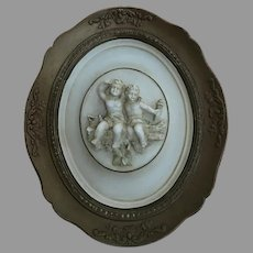 Vintage Alexander Backer Co. Chalkware Cherubs Plaque