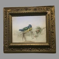 Original Pastel Blue Tits on Fence Ornate Gilt Wood Frame