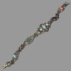 Vintage Filigree Cabochon Multicolor Metal Bracelet