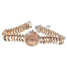 Rare Gruen SWISS Quartz Ladies Fashion Watch Rose Dial Two Tone Rose/Silver Bracelet