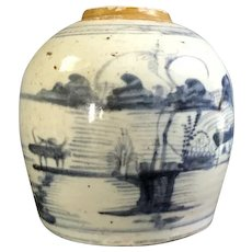 Late Ming Dynasty Blue White Ginger Jar