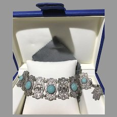 Vintage Egyptian Revival Filigree Scarab Hieroglyphic Figural Link Bracelet Hamsa Hand Charm