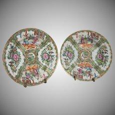 "Stunning Pair of Rose Medallion Chinese Export 7.25"" Bowls Circa 1915"