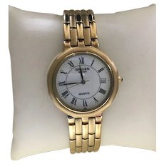 Gruen Swiss Vintage Brushed Polished Two GoldTone Mens Quartz Watch Never Worn