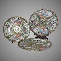 19th Century Rose Medallion Set of 3 Plates