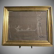 Rare Ludovico De Luigi Charcoal on Linen Concerto Carnivale Drawing