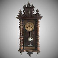 Antique 1890 German Vienna Regulator Striking Wall Clock RS Mueller