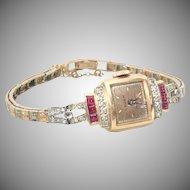 Gruen 14K Rose Gold Diamond Ruby Precision Ladies Watch Switzerland 1940's