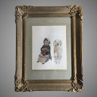 Unique Venetian Watercolor Girl & Her Dog Ornate Gilt Gesso Frame