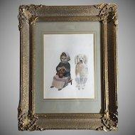 Unique Venetian Watercolor Girl & Her Dog Ornate Gilt Gesso Frame