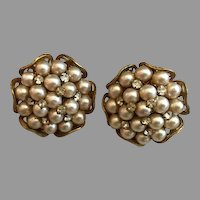 Signed Miriam Haskell Faux Pearl Cluster Earrings Rhinestone Accents
