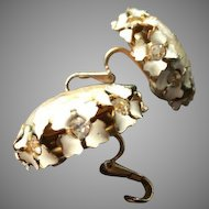 Rare Sandor Signed Button French Clip Earrings