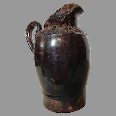 Rare Redware Pottery Slip Glaze Pitcher 19th Century