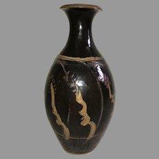 Tall Tenmoku Glazed Japanese Art Pottery Incised Decorated Bottle Vase