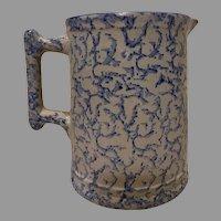 19 Century Sponge ware Blue White Pitcher