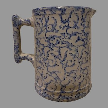 19 Century Sponge ware Blue White Pitcher
