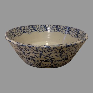 19th Century Spongeware Pottery Cream Bowl