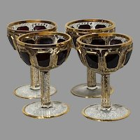Set of 4 Moser Deep Ruby Cabochon Ornate Gilt Glass Coupe