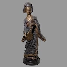 Japanese Cast Bronze Geisha Girl Cold Paint Art Sculpture