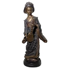 Japanese Cast Bronze Geisha Girl Cold Paint Art Sculpture
