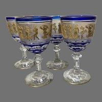 Set of 4 Val St. Lambert Danse de Flore Cobalt Goblets