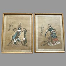 Pair of Chinese Gouache Paintings on Silk Signed