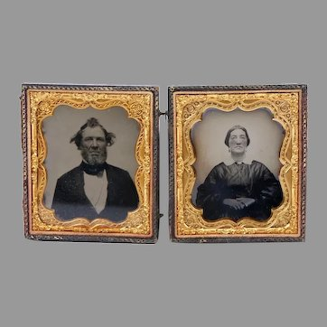 Daguerreotype Photo of Couple in Double Frame Leather/Wood Union Case