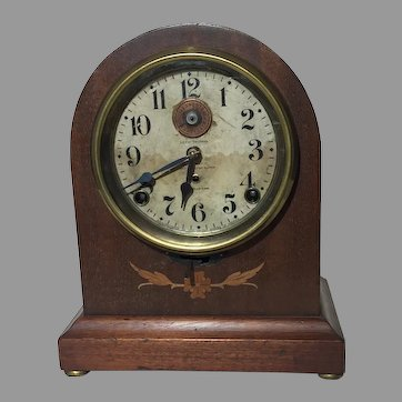 Rare Seth Thomas 8 Day Long Alarm Inlaid Beehive Mantel Clock