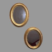 Exquisite 18th C. Pair Gilt Oval Mirrors