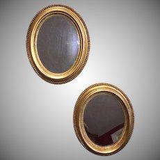Exquisite 18th C. Pair Gilt Oval Mirrors