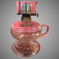 19th Century EAPG Pattern Glass Finger Oil Lamp Light Blue Tint