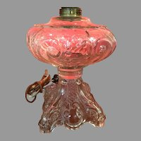 Antique Converted EAPG Princess Feather Glass Sewing oil Lamp 19th C.