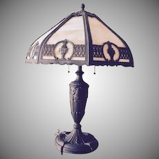 Antique Carmel Bent Slag 8 Panel Lamp Signed Bradley Hubbard