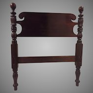 Pair 19th C. Sheraton Mahogany Bell and Ball Low Post Field Bed