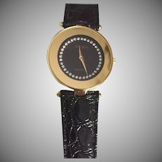 Vintage Gruen Quartz Black Ladies Watch Rhinestone Dial