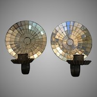 Pair Rare Antique Mirrored Tin Sconces