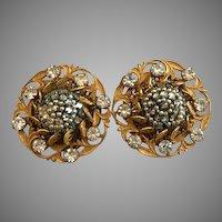 Rare Miriam Haskell Seeded Crystal and Rhinestone Earrings