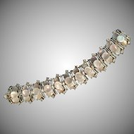 Stunning Vintage Simulated Mother of Pearl Disc Rhinestone Bracelet
