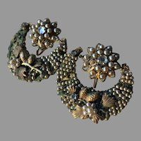 Rare Jonne' Schrager Seeded Montee Crescent Moon Earrings Intricate Design