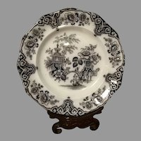 Exceptional JE Bochara Mulberry Set of 6 Black Flow Willow Dinner Plates