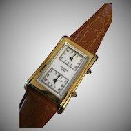 Rare Gruen Dual Timezone Swiss Watch
