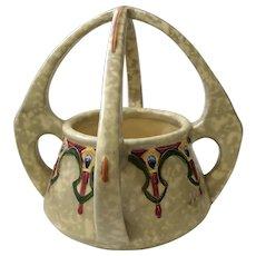 Art Nouveau Royal Dux Amphora Pottery Basket Vase