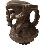 RARE Folk Art Handcarved Wooden Pitcher or Vase, c.1800s