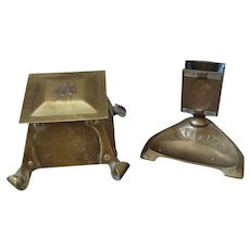 Arts & Crafts Inkwell and Art Nouveau Matchbox Holder/Ashtray