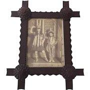 Antique Tramp Art Carved Picture Frame with Corner Rosette Detail