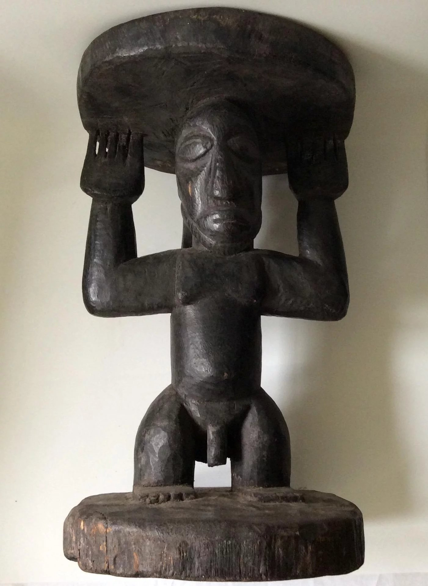 African Tribal Handcarved Figural Male Stool C 1900