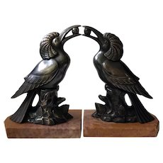 French Art Deco Exotic Bird Bookends
