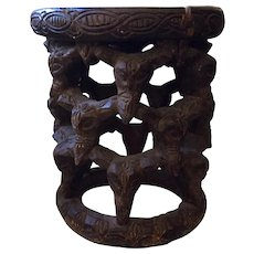 Antique Yoruba Carved African Tribal Stool