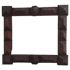 Large Antique Tramp Art 7-Layer Carved Picture Frame